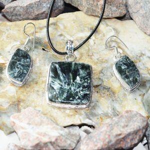 Seraphinite Pendant & Earrings Set